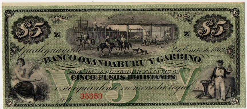5 Pesos Banco Oxandaburu