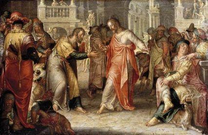 """The Tribute Money "" Joachim A. Wtewael, (1616)"