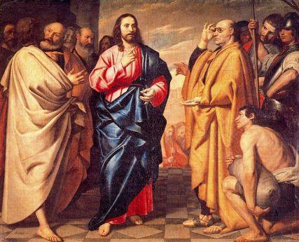 """""""La moneda del César"""" Antonio Arias, (1646)."""