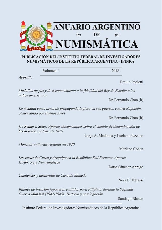 ANUARIO ARGENTINO DENUMISMÁTICA