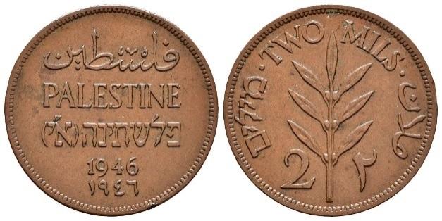 Monedas para Palestina durante el MandatoBritánico