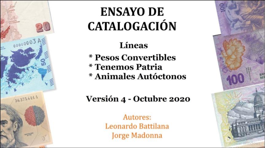 Ensayo de Catalogación. Líneas: Pesos convertibles; Tenemos Patria; Animales autóctonos. Version 4: Octubre2020