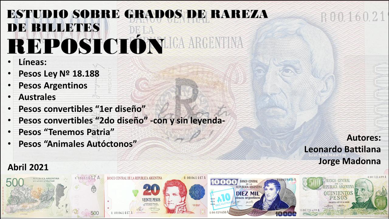 ESTUDIO SOBRE GRADOS DE RAREZA DE BILLETES REPOSICIÓN