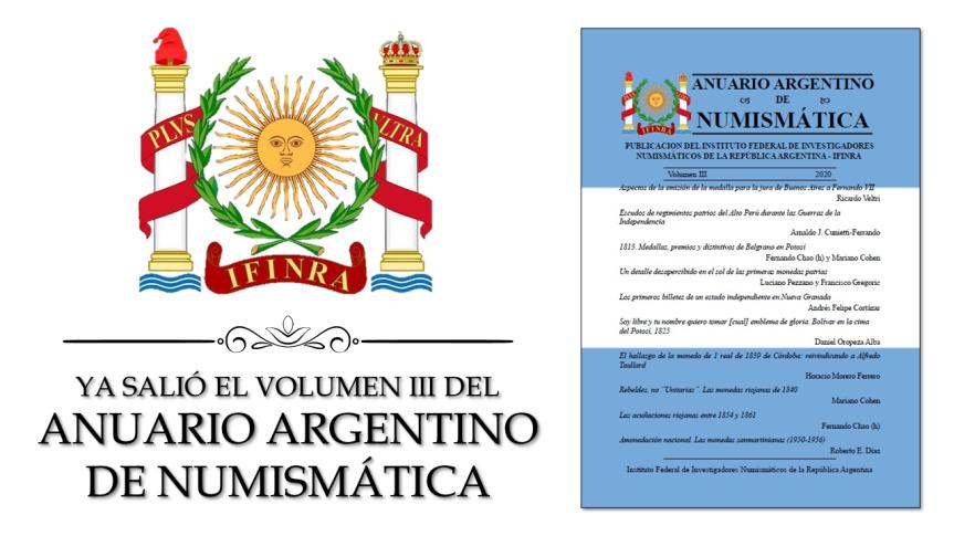 YA SALIÓ EL VOLUMEN III DEL ANUARIO ARGENTINO DENUMISMÁTICA
